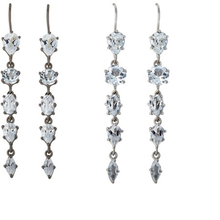 Elegant 10 Carat Natural Multiple Shaped White Topaz Dangle Earrings Sets of 2 Pcs In 925 Sterling Silver