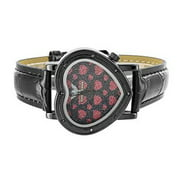 Women Watches Heart Design Black Leather Band Elegant Water Resistant