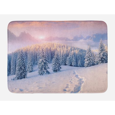Mountain Bath Mat, Idyllic Winter Morning in Woodland Rising Sun Pine Trees Forest Snowy Foggy, Non-Slip Plush Mat Bathroom Kitchen Laundry Room Decor, 29.5 X 17.5 Inches, Pale Pink White, Ambesonne