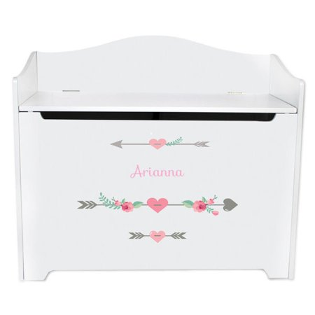 - Personalized Girl Tribal Arrows White Toy Box Bench