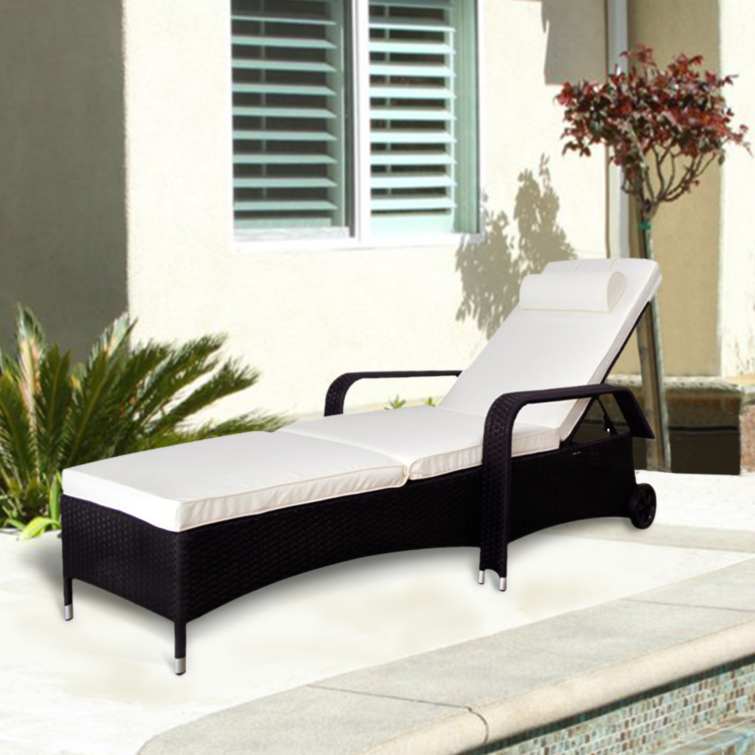 Kinbor Outdoor Recliner Black PE Wicker Patio Chaise Lounge Chair Furniture w/Sliding Tray