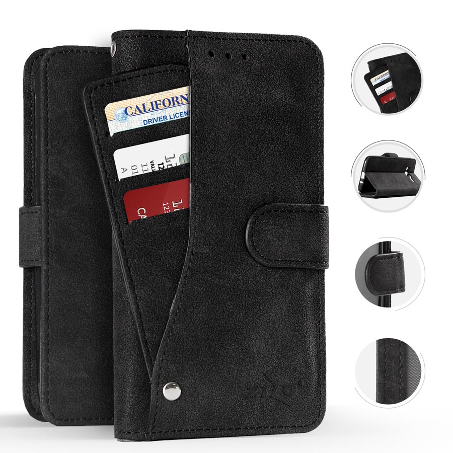 Zizo Slide Out Wallet Pouch Series Compatible with Samsung Galaxy J7 2018 Case with Credit Card and ID Holder Galaxy J7 Refine J7 Star