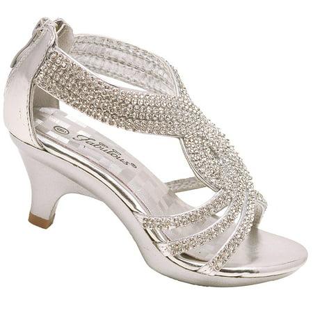 a077c09ed5b Fabulous - Girls Silver Curved Strap Glitter Rhinestone Adorned Mid Heel  Sandals - Walmart.com