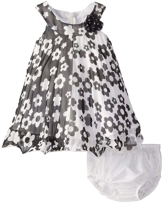 Bonnie Jean Baby Girl 3M-24M Colorblock Floral Print Crystal Pleat Trapeze Dress