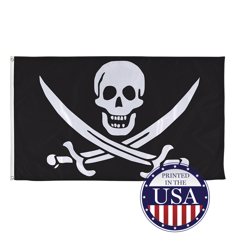 3x5 Calico Jack Rackham Pirate Skull 2ply Nylon Double Sided Flag 3x5ft Banner