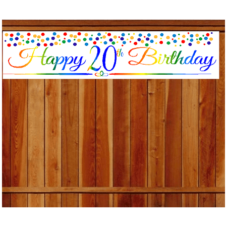 Outdoor Party Decoration (Item#020RPB Happy 20th Birthday Rainbow Wall Decoration Indoor / OutDoor Party Banner (10 x)