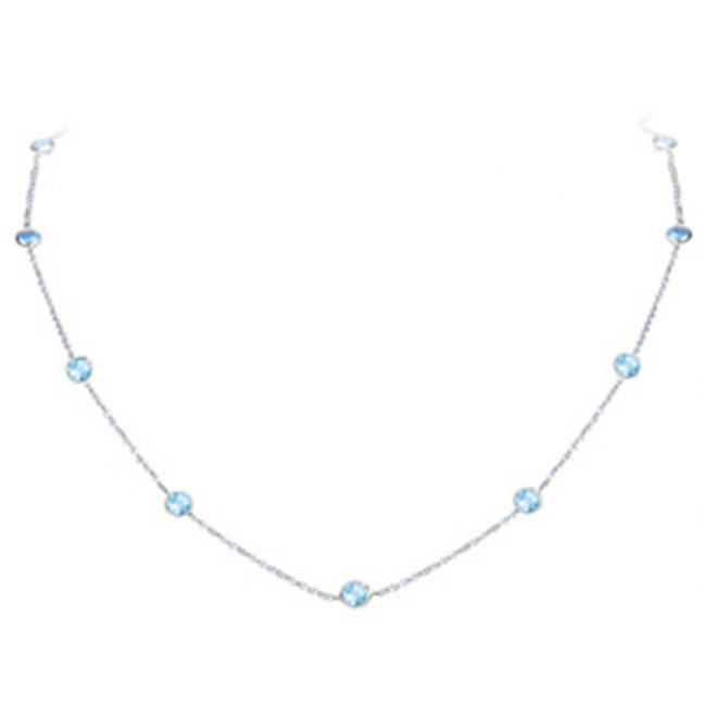 14k Gold Round Blue Topaz By The Yard Necklace (1.20.cts.tw) by NKRBTS160