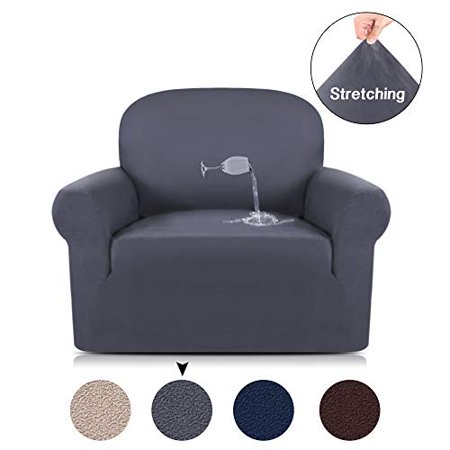 Anti-Slip Suede Sofa Cover 1-Piece Spandex Stretch Chair Cover Water Repellent Elastic Pet Dog Sofa Couch Cover Slipcover Arm-chair Furniture Protector Shield (Stretch Suede Sofa)