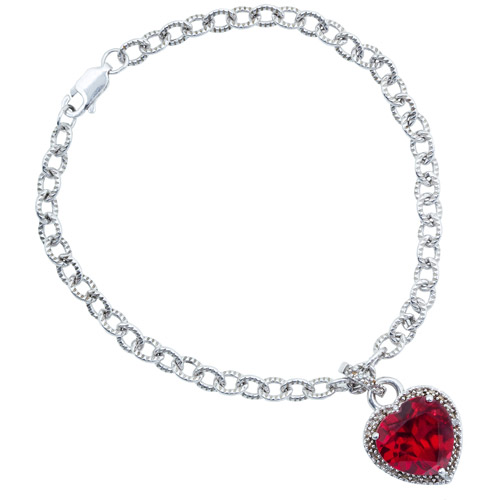 8.50 Carat T.G.W. Lab Ruby and Diamond Accent Sterling Silver Heart Bracelet
