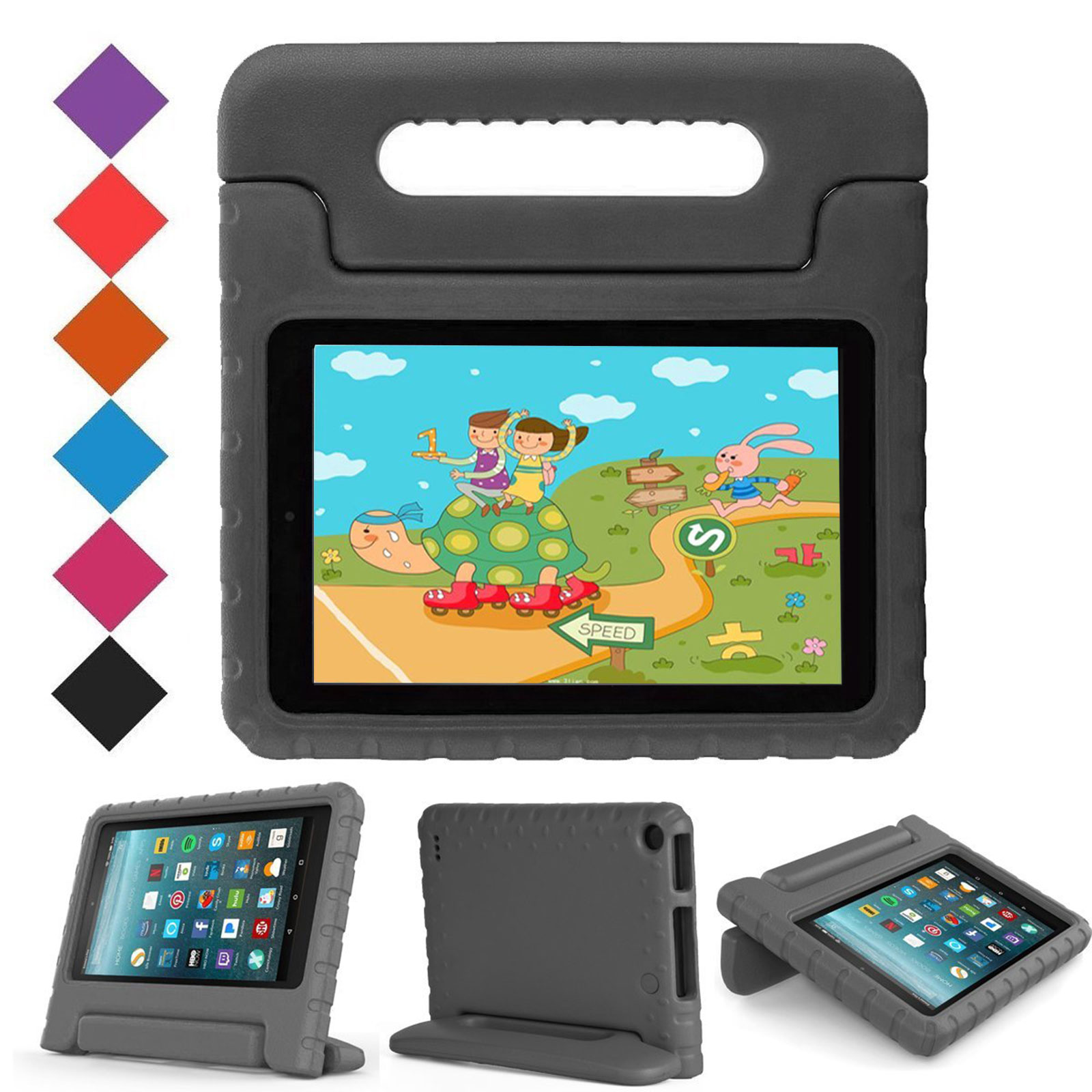 Goodest Case for All-New Amazon Fire 7 Tablet (7th Gen, 2017) - Kiddie Series Light Weight Convertible Handle Stand Kids Friendly Cover, compatible with Fire 7 (5th/7th Gen, 2015/2017), Black