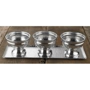 Kindwer Hammered Tray and 3 Bowl Set