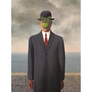 """RENE MAGRITTE Son of Man (with border) 27.5"""" x 19.75"""" Poster Surrealism Green, Gray, Red, White"""