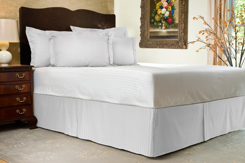 Pleated Bed Skirt Twin Size Stripe White Luxury Double Brushed 100