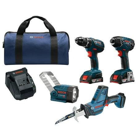 Bosch CLPK495A-181 18-Volt 4-Tool 2.0Ah Cordless Power Tool Combo (Bosch Tool Kits)