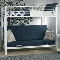 Walker Edison Twin Over Futon Metal Bunk Bed, White