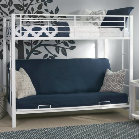 Walker Edison Twin Over Futon Metal Bunk Bed, White