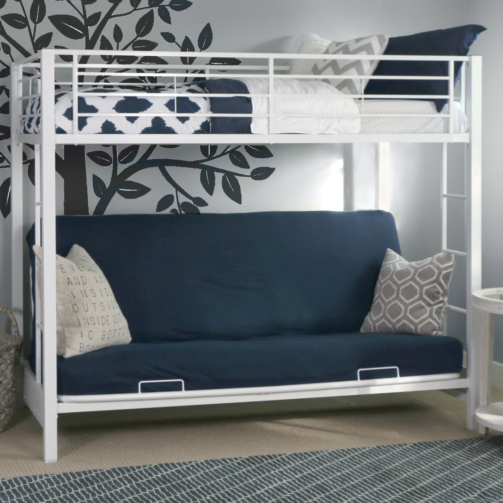 Walker Edison White Twin Over Futon Metal Bunk Bed Walmart Com
