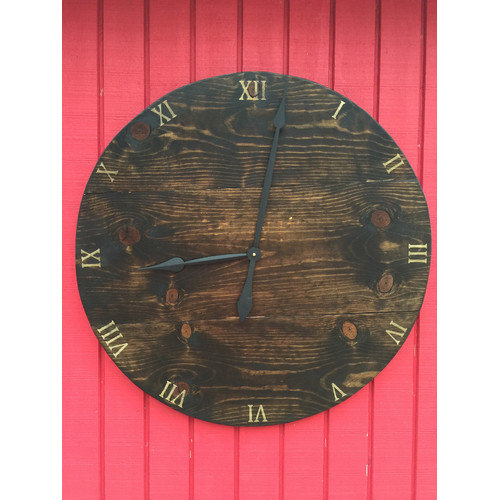 essex hand crafted wood products Oversized 30'' Tilbury Wood Wall Hanging Clock