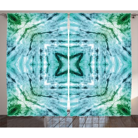 Tie Dye Decor Curtains 2 Panels Set, Star inside Square Shaped Kaleidoscope Tie Dye Motive with Outer Figures Image, Window Drapes for Living Room Bedroom, 108W X 90L Inches, Teal Blue, by Ambesonne