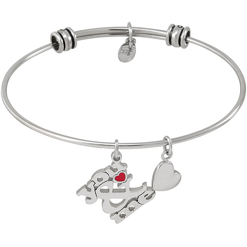 Connections from Hallmark Stainless Steel Heart Multi-Charm Bangle
