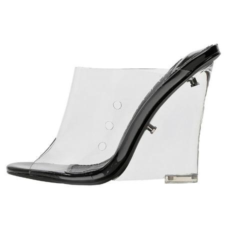 a4a118a3c0f Mackin J - 405-1 Transpatent Lucite Clear Wedge Heel PVC Open Toe Slip On  Mules Black - Walmart.com