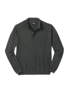 Kingsize Men's Big & Tall 1/4 -Zip Mock Neck Lightweight Sweater