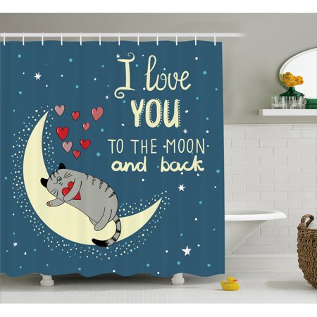 I Love You Shower Curtain  Sleepy Cat Holding Hearts Over The Moon At Night Sky Kitty Caricature  Fabric Bathroom Set With Hooks  69W X 84L Inches Extra Long  Slate Blue Grey Ivory  By Ambesonne
