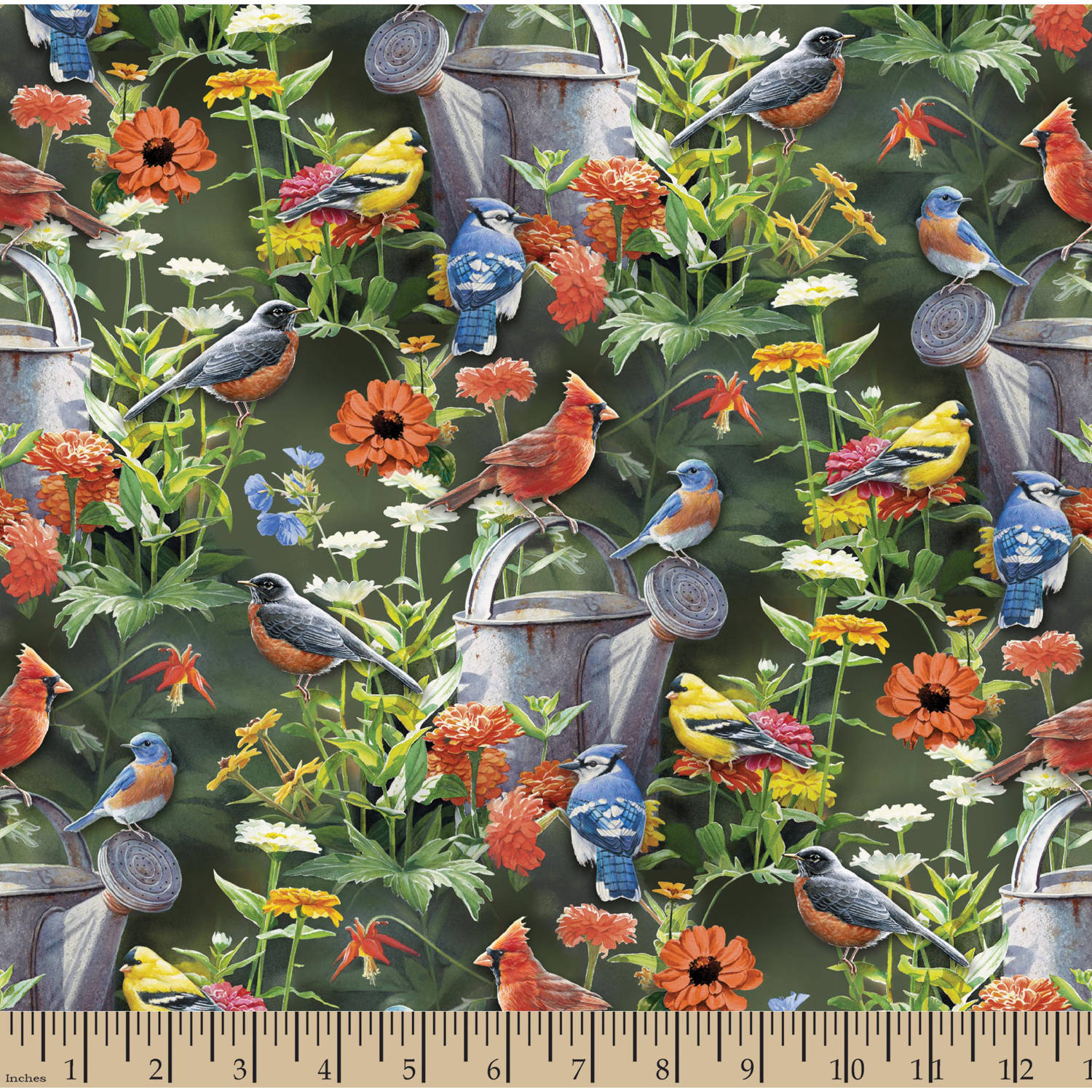 "Wild Wings Scenics Fine Feathered Friends, Multi-Colored, 43/44"" Width, Fabric by the Yard"