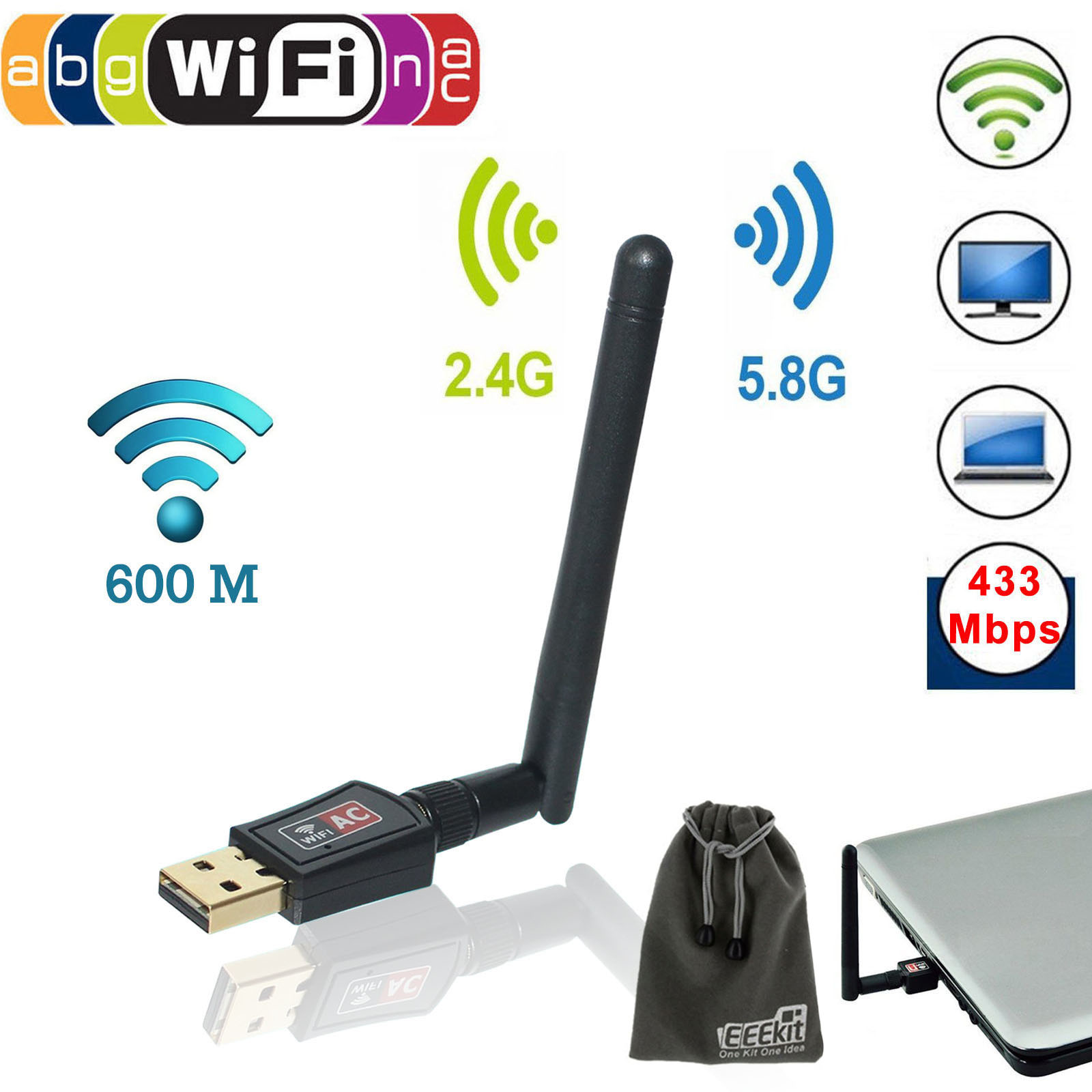 EEEKit USB Wifi Lan Adapter 600Mbps Dual Band 5GHz/2.4GHz 802.11ac w/ Antenna Wireless Network Dongle Booster Card for PC Laptop