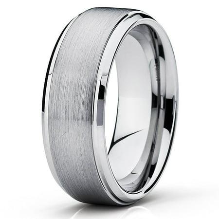 Tungsten Wedding Band Silver Ring 9mm Carbide Men Women Comfort Fit