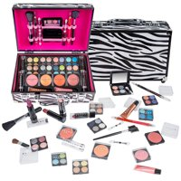SHANY Carry All Makeup Train Case with Pro Makeup and Reusable Aluminum Case - Zebra
