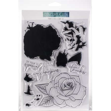 """Concord & 9th Clear Stamps 6""""X8""""-Painted Rose"""