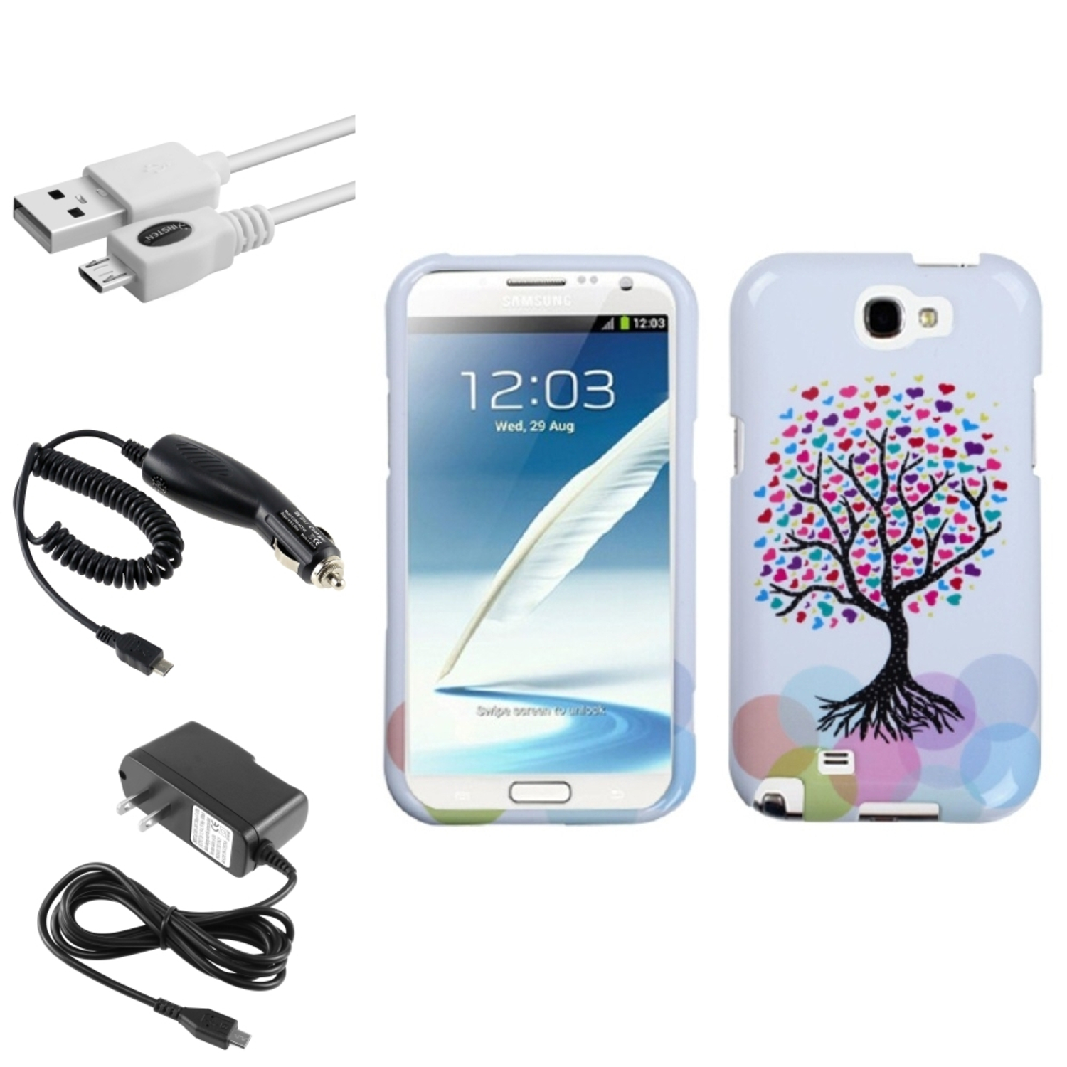 Insten Love Tree Hard Case+Car+Wall Charger+3X USB Cable For Samsung Galaxy Note 2 II