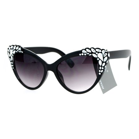 SA106 Womens Rhinestone Iced Out Bling Cat Eye Fashion Sunglasses Black