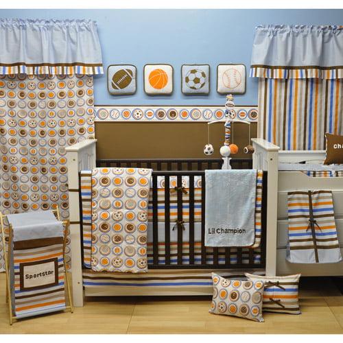 Bacati - Mod Sports 11-Piece Nursery-in-a-Bag Crib Bedding Set Boys Crib Bedding Set 100% Cotton Percale Boys Crib Bedding Set with Bumper Pad for US standard Cribs