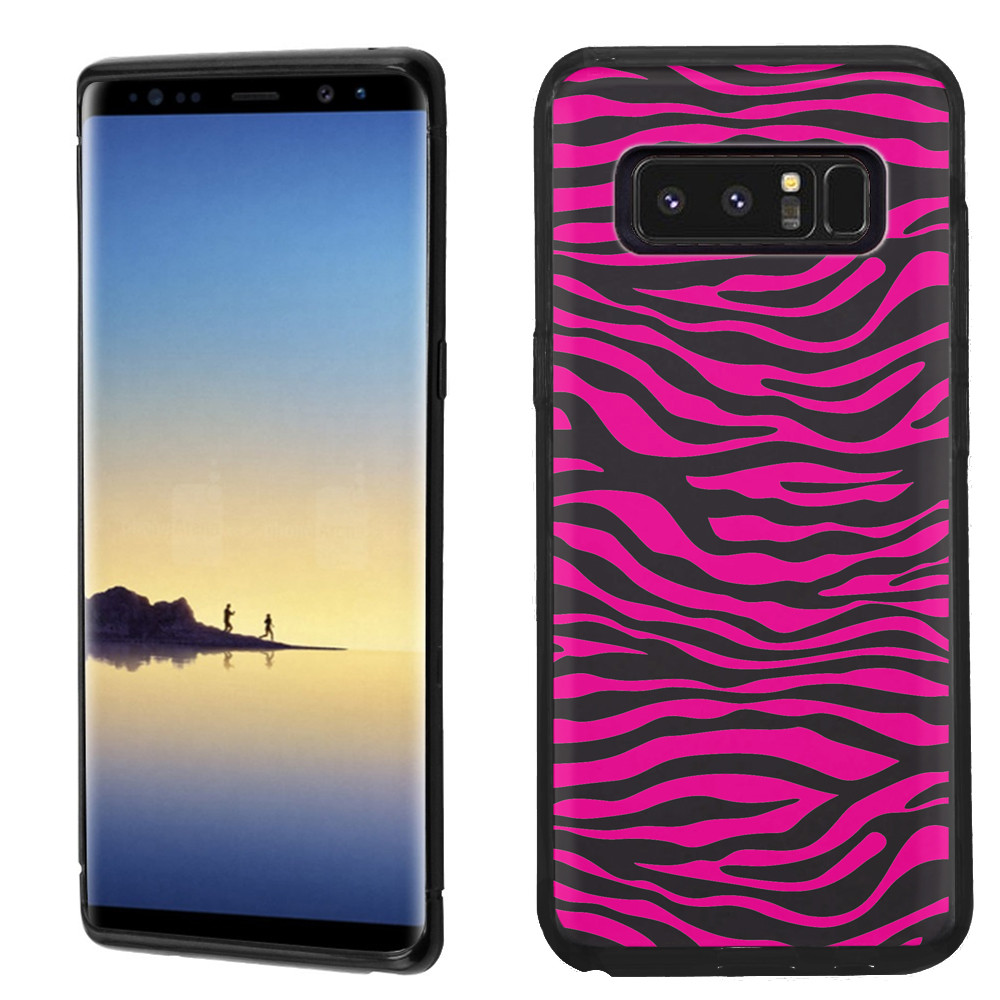 Slim-Fit case for Samsung Galaxy Note 8, OneToughShield ® TPU Gel Protector Phone Case (Black Bezel) - Zebra Pink