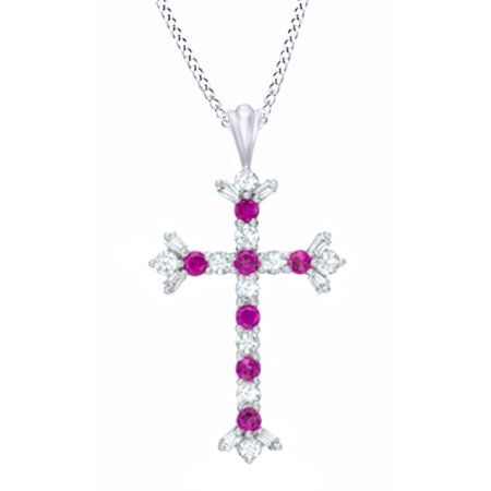 Simulated Ruby   White Sapphire Cz Flare Cross Pendant In 14K White Gold Over Sterling Silver