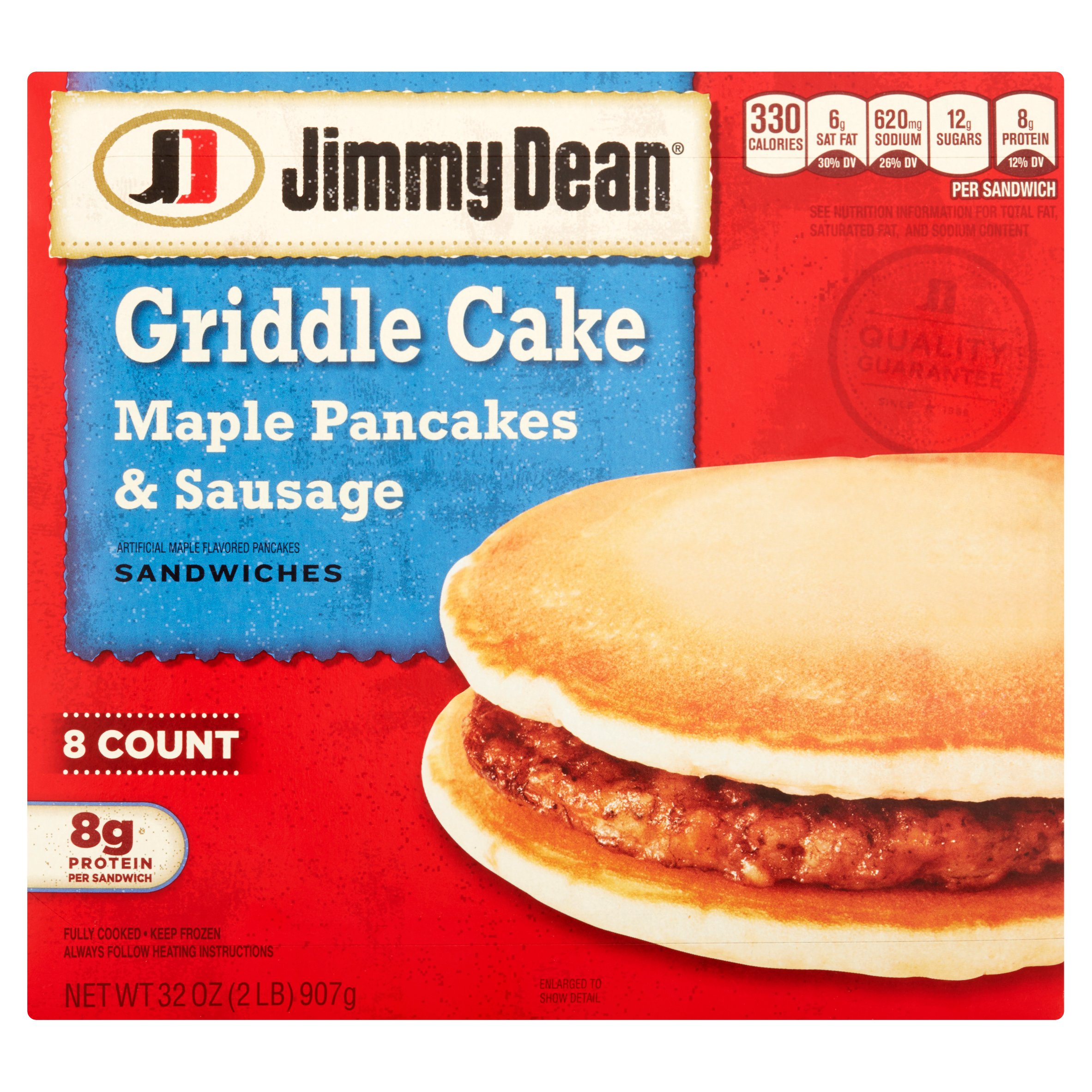 Jimmy Dean Griddle Cake Maple Pancakes & Sausage Sandwiches, 8 count, 32 oz