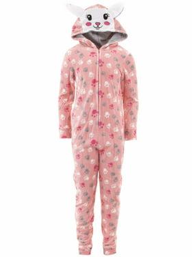 dELiA*s Girls Bunny Coral Hooded One-Piece Pajamas