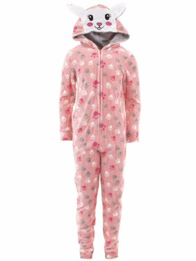 Product Image dELiA s Girls Bunny Coral Hooded One-Piece Pajamas 0575fbdb5