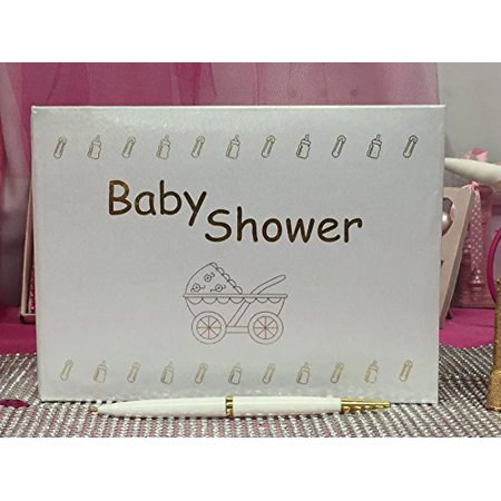 White Baby Shower Guest Book Favor Gift Keepsake