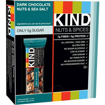 Kind Fruit and Nut Bars Dark Chocolate Nuts; Sea Salt, 1.4 oz, 12 Count