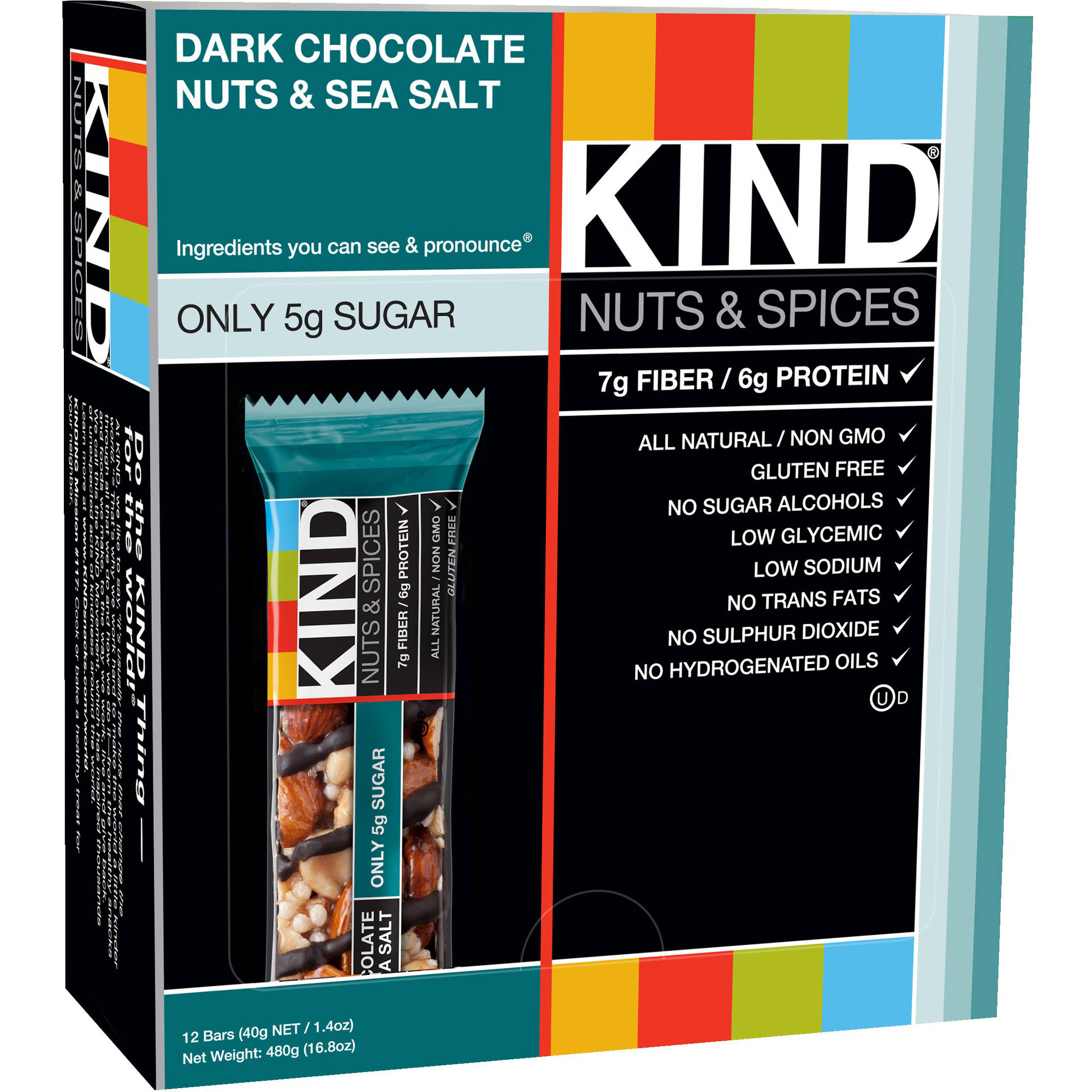 Kind Nuts & Spices Bars Dark Chocolate Nuts & Sea Salt - 12 CT