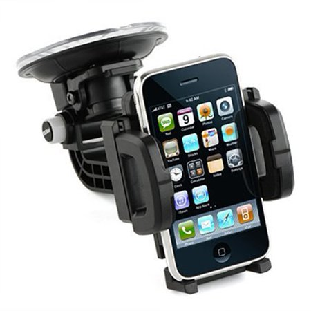 Multi-Angle Rotating Car Mount Phone Holder Windshield Cradle Stand Window Glass Dock Suction Black R5W for iPhone 8 PLUS X, Ipod Touch 1st Gen 2nd Gen 3rd Gen 4th Gen 5 - Google Pixel 2