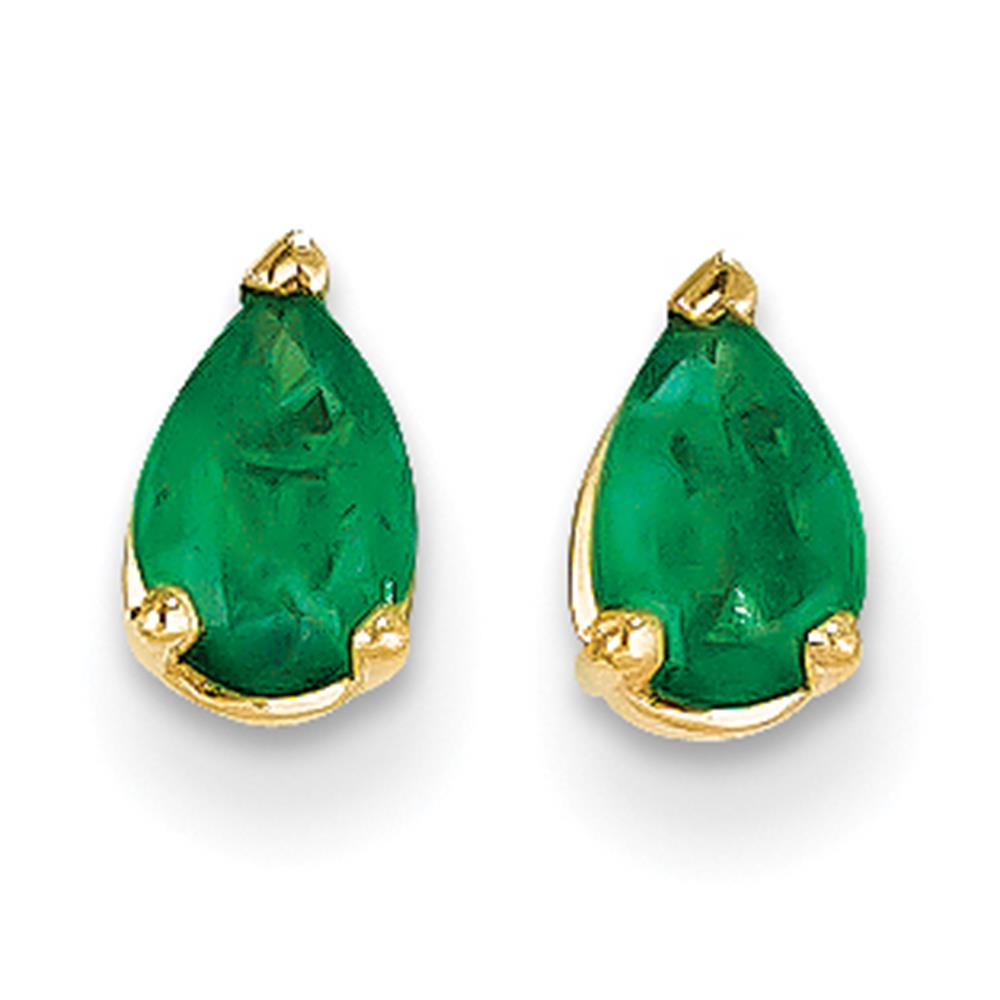 NEW 14k Yellow Gold Polished 6mm x 4mm Pear Cut Emerald Post Earrings