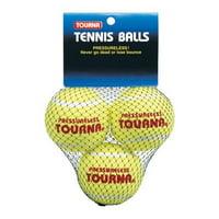 Tourna Pressureless Practice Tennis Balls, Training-Hitting Drills-3 Pack