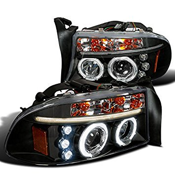 Spec-D Tuning 2LHP-DAK97JM-TM Dodge Dakota Durango Dual Halo Black Projector Head Lights Dodge Dakota Durango Headlight