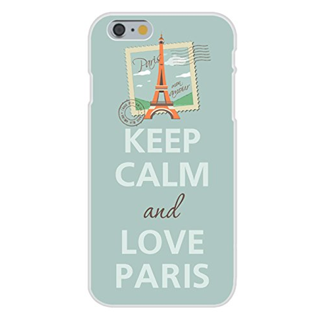 Apple iPhone 6+ (Plus) Custom Case White Plastic Snap On - Keep Calm and Love Paris w/ Eiffel Tower on Mail Stamp - Paris Stamp