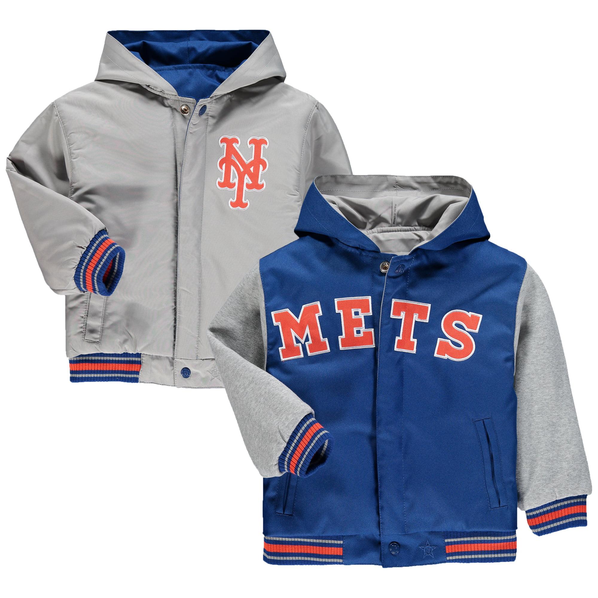 New York Mets JH Design Toddler Reversible Hooded Jacket - Royal
