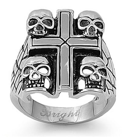 Stainless Steel Cross & Skull Biker Ring Christian 316L Band New Size 9 Christian Cross Wedding Band